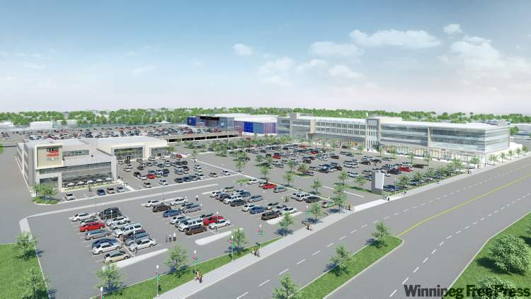 Artist's rendering shows the planned Polo North centre. The new Asian supermarket, with office space above it, would occupy the building on the right.