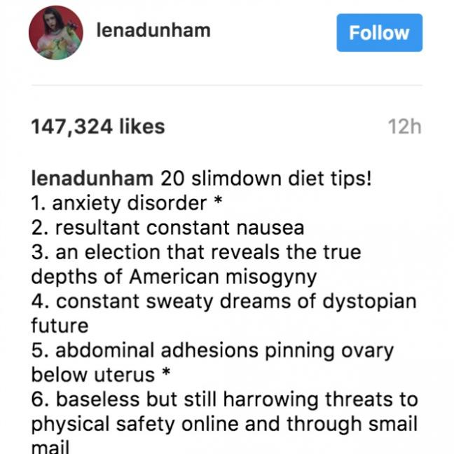 FYI: Lena Dunham doesn't want your weight loss compliments