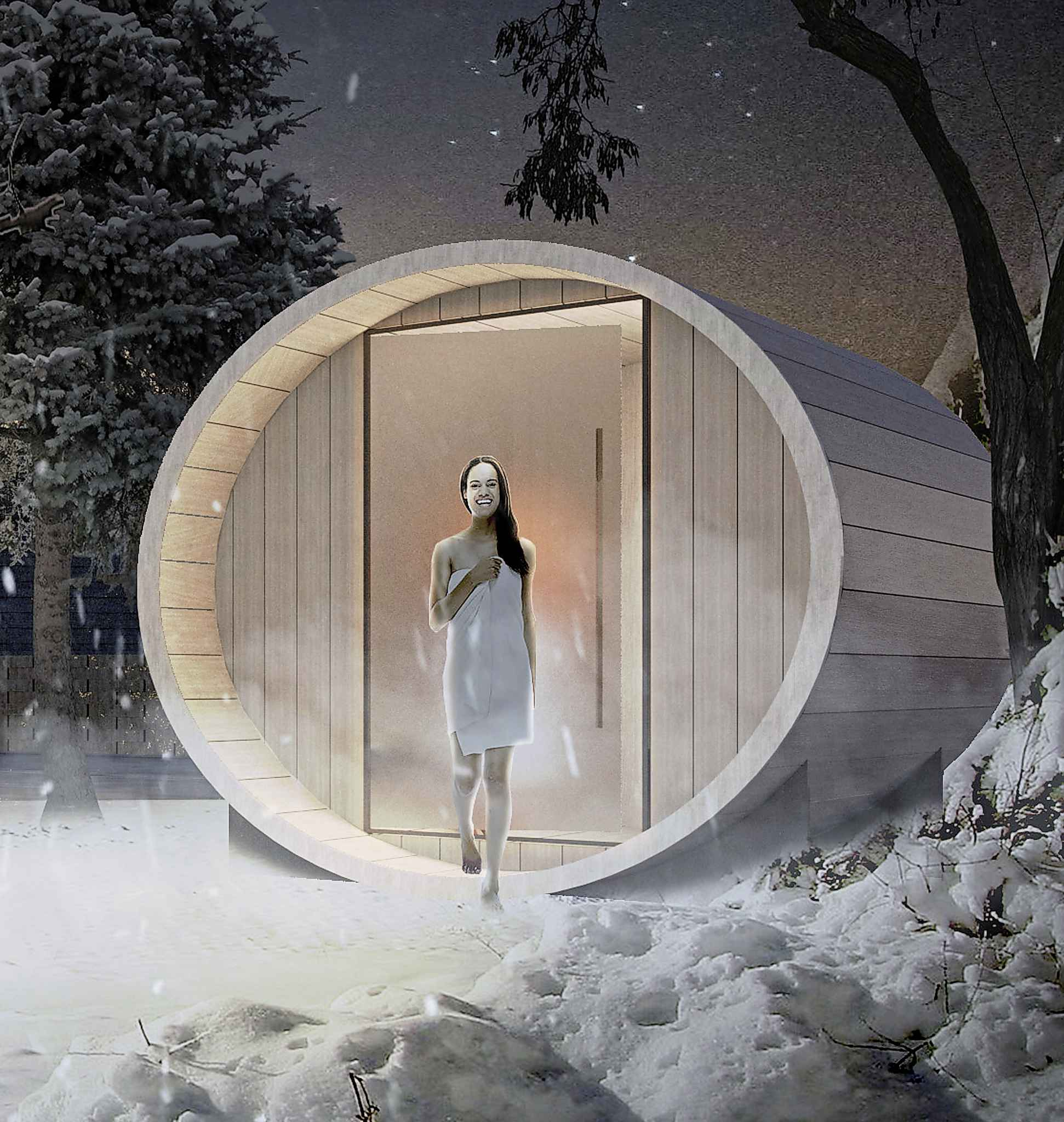 The barrel saunas are manufactured in Ontario. (Artist's rendering / 5468796 Architecture)