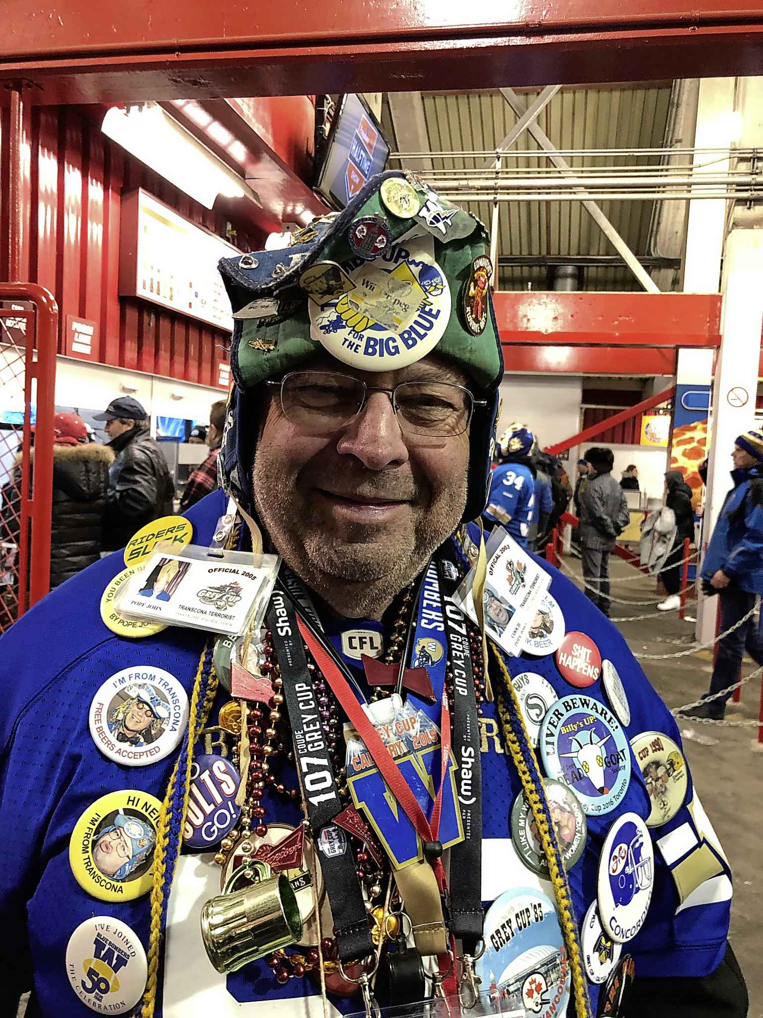 """John """"The Cooch"""" Couture, a Transcona native attending his 46th Grey Cup, knew the Bombers would win as he predicted in a halftime prophecy. (Ben Waldman / Winnipeg Free Press)"""