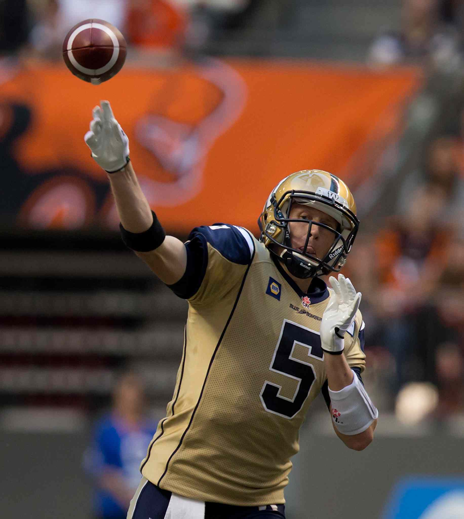 Winnipeg Blue Bombers' quarterback Drew Willy passes against the B.C. Lions during the first half of Friday's game.