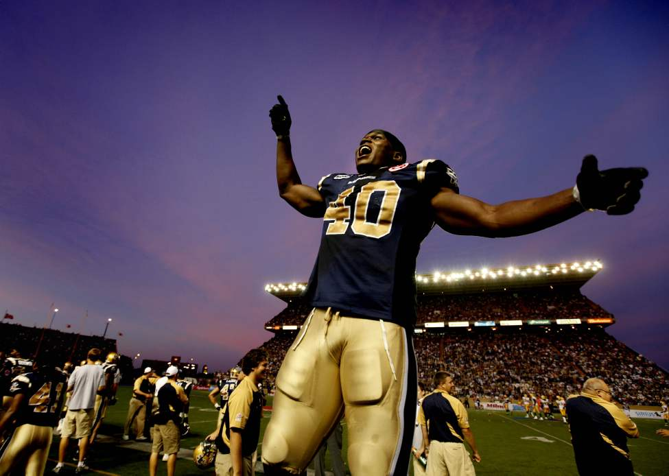 Winnipeg Blue Bomber #40 Odel Willis responds to the screaming Bomber fans during their game against the Edmonton Eskimos at Canad Inns Stadium Friday Night. 