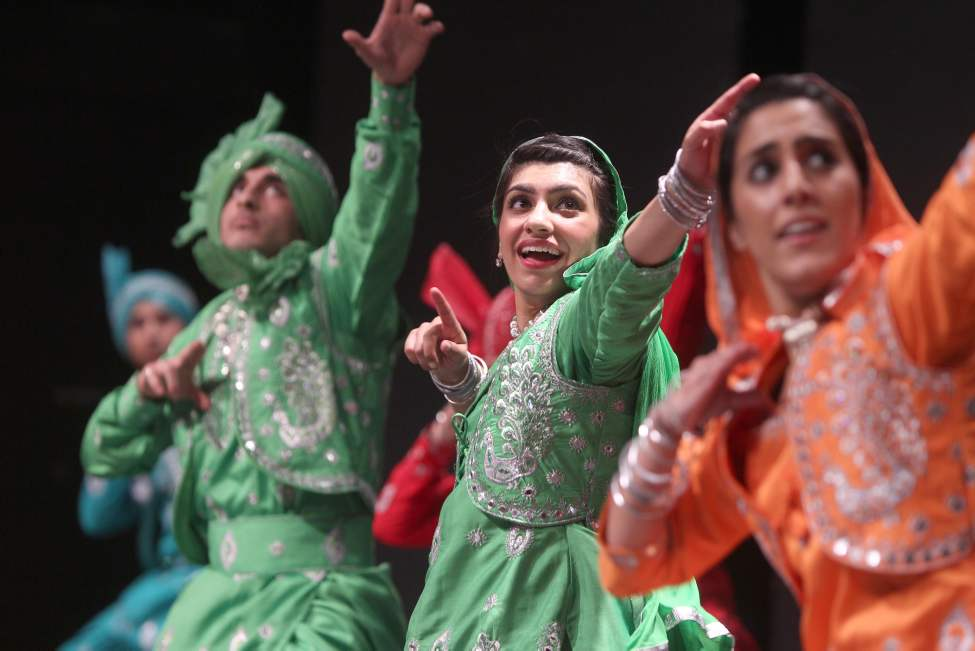 The Bhangra Syndicate dance team performs during the 34th annual Raunak Show at Jubilee Place Saturday night. The cultural showcase of talent was performed at Mennonite Brethren Collegiate Institute by various cultures throughout south Asia  and put on by the U of M Indian Students Association March 17, 2012.  (Ruth Bonneville/Winnipeg Free Press)