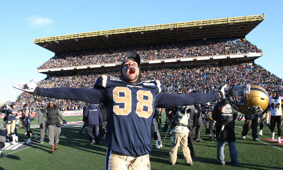 Winnipeg Blue Bombers Jason Vega celebrates the 19-3 Eastern Final win over the Hamilton Tiger-Cats and a berth in the 2011 Grey Cup in Vancouver. Novemeber 20, 2011