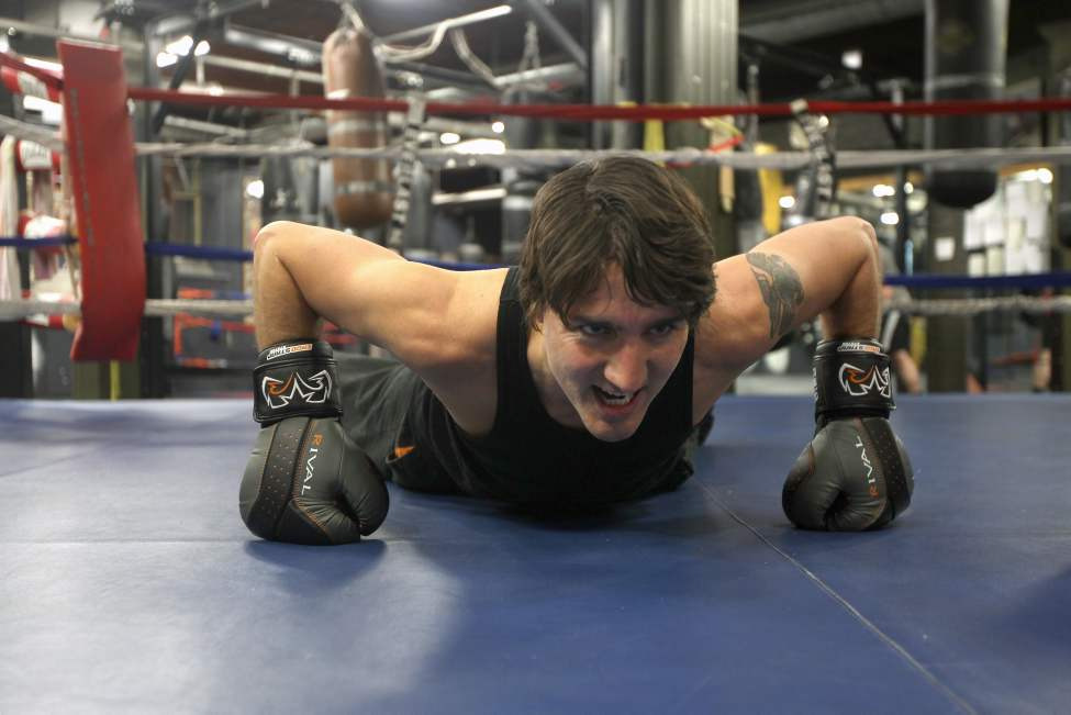 Federal Liberal leadership candidate (now leader) Justin Trudeau works out hard at the Pan Am Boxing Club the day before a leadership candidate debate in Winnipeg. February 1, 2013 (JOE BRYKSA / WINNIPEG FREE PRESS)