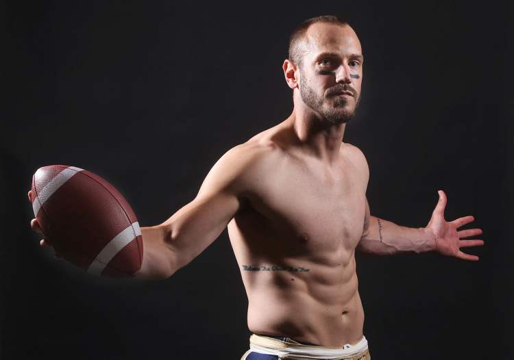Winnipeg Blue Bomber starting quarterback Buck Pierce poses for photograph before his teams home opener against Montreal Allouettes.
