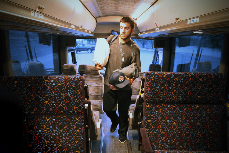 A pillow, some tunes... Goldeyes pitcher Griffin Bailey boards the team with everything he needs to endure another long road trip.