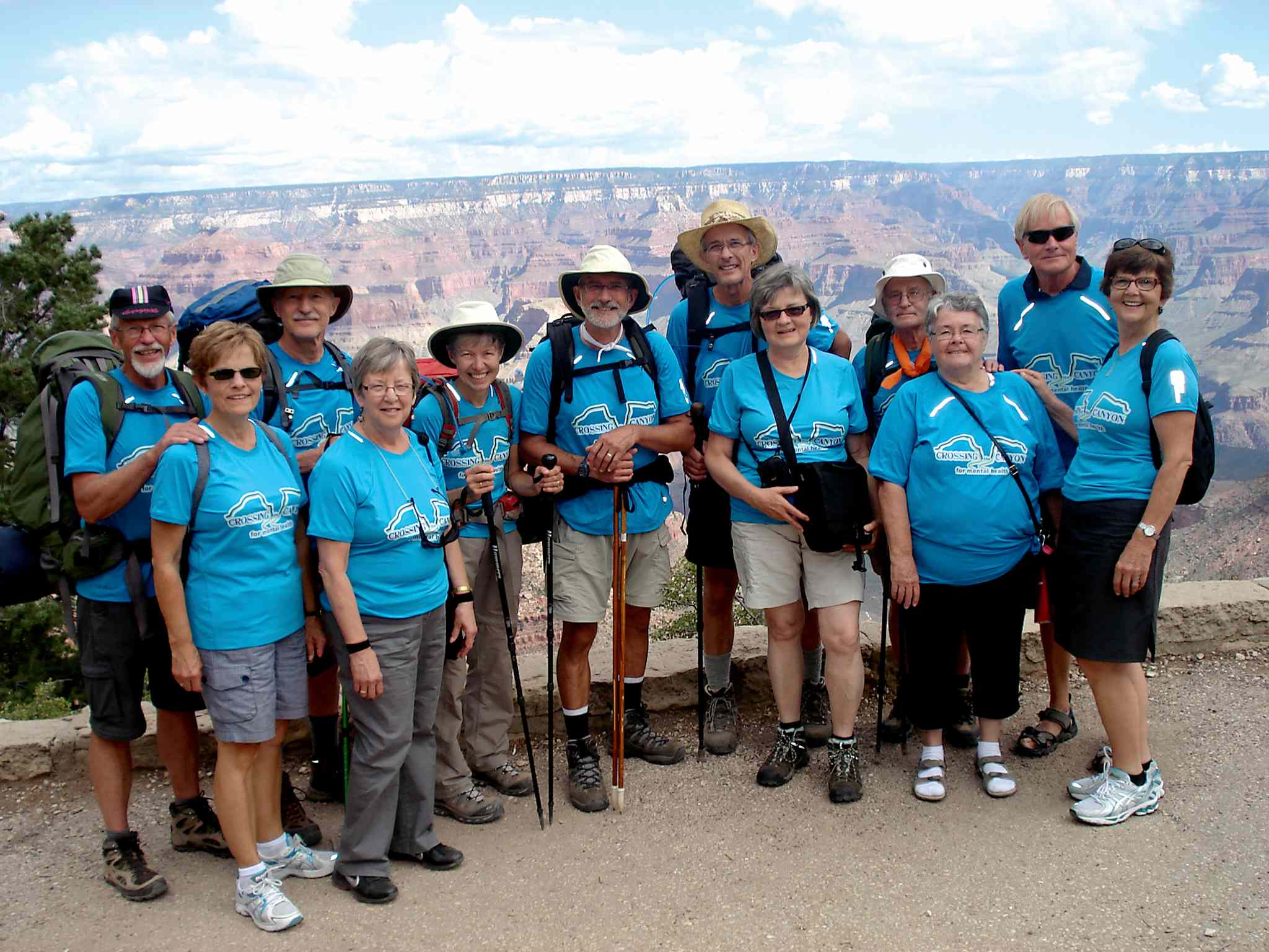 From left to right, by couples: John and Ruth Janzen, Dave and Grace Loewen, Anne and Jerry Friesen, John and Merril Unger, John and Pat Pankratz, and Bill and Grace Martens, pictured during their four-day excursion to the Grand Canyon.