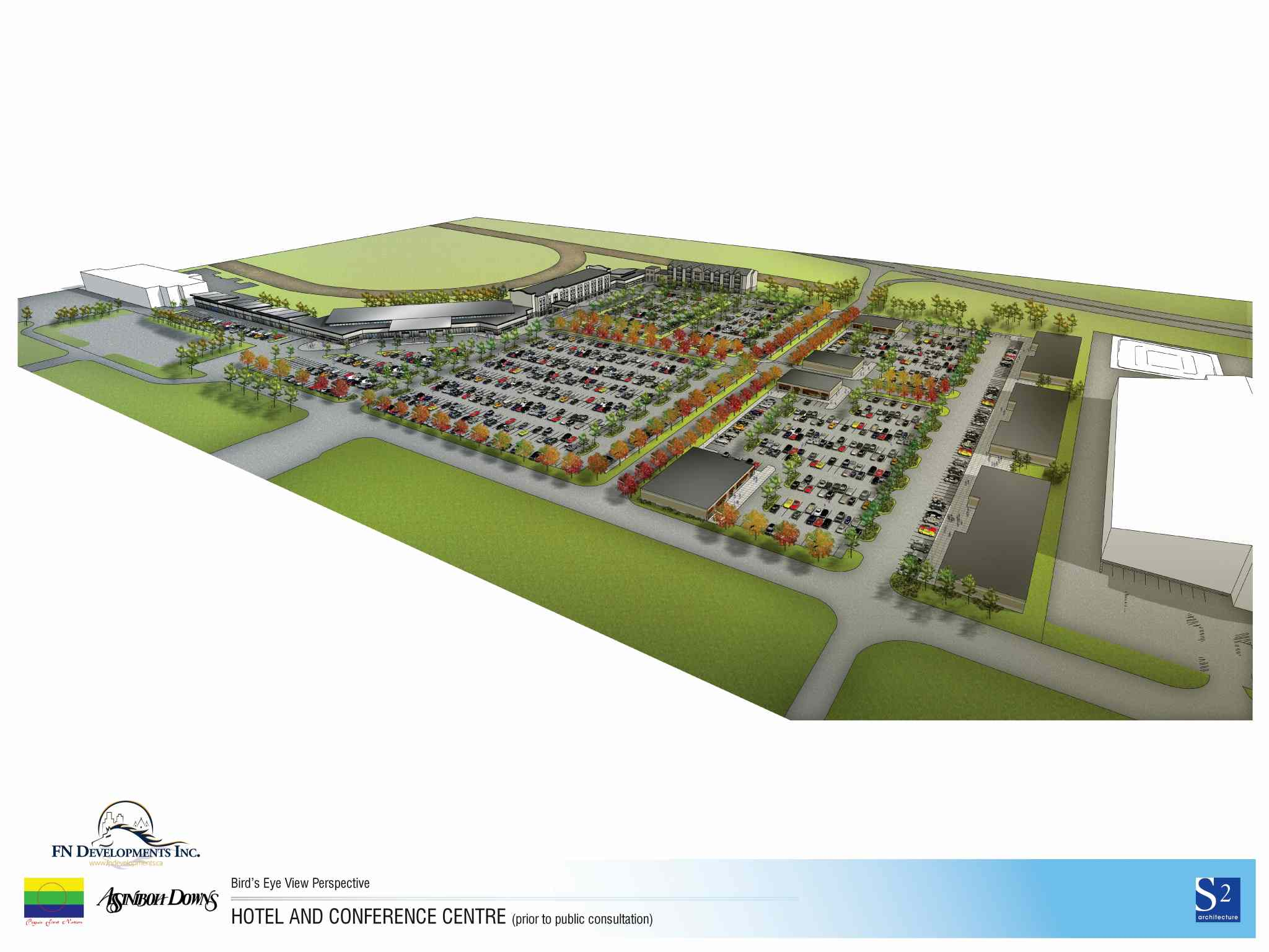A graphic of the development site. The Manitoba Jockey Club and Peguis First Nation have formed FN Developments Inc. to work on a new development at Assiniboia Downs. The plans include hotels, convention and retail space.