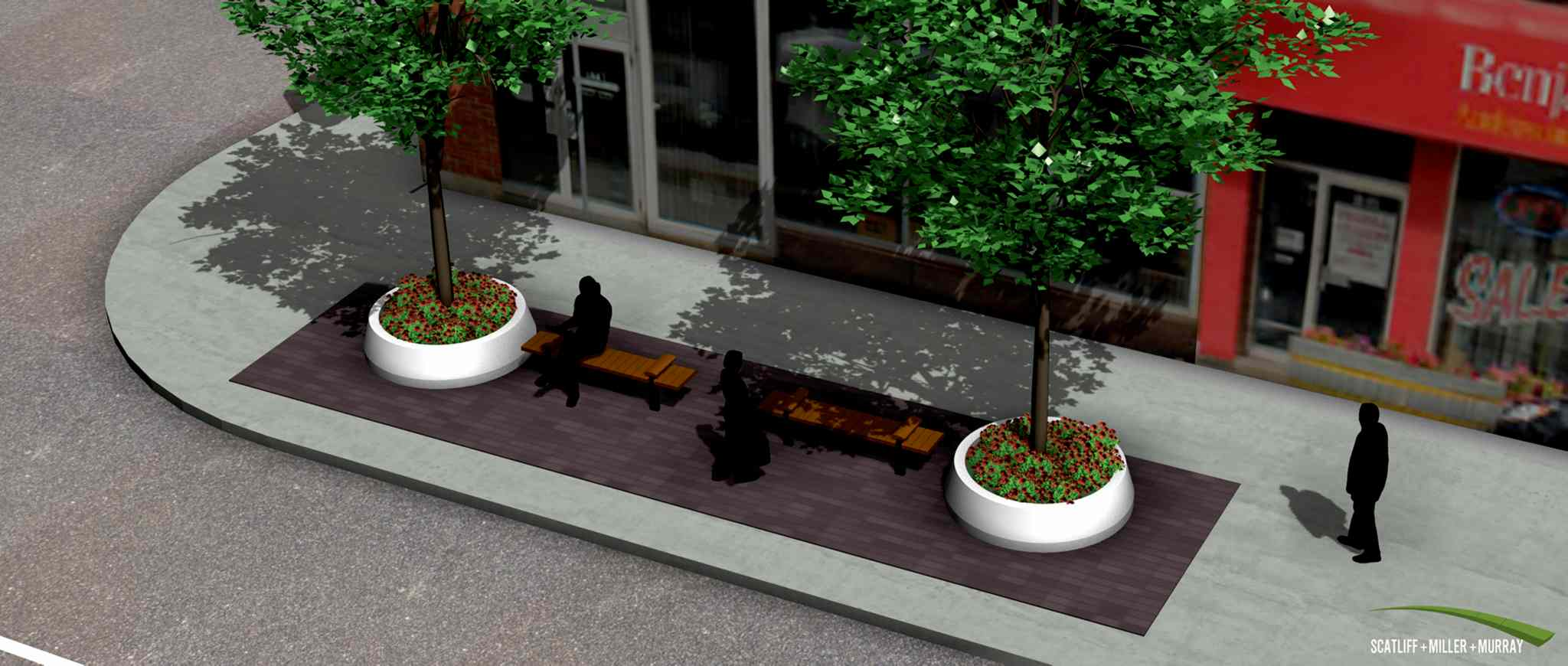 Bryan Metcalfe, executive director of the St. James Village BIZ, is working with a team on the Living Canopy Streetscape Project, which consists of 10 outdoor plazas for the St. James area. The above image is an example of one of the plazas.