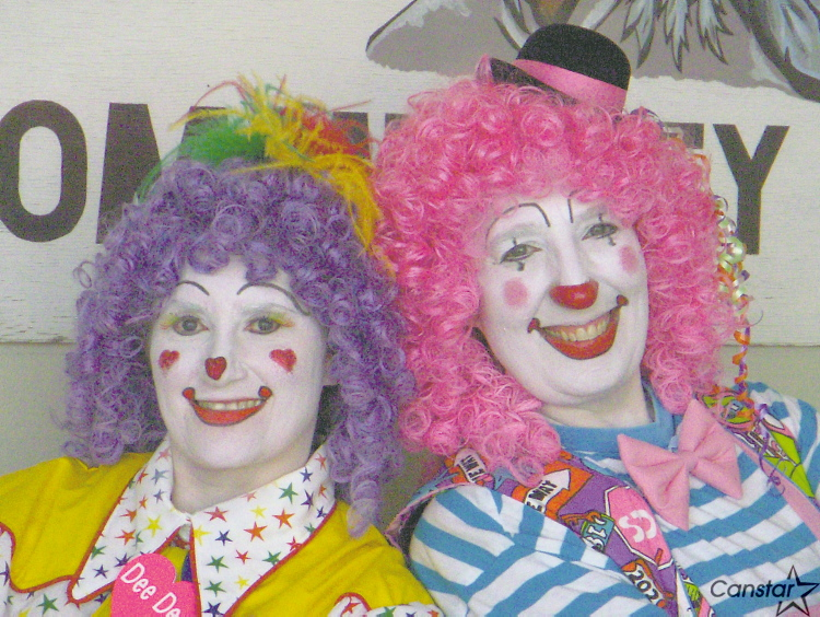 (From left:) Deanna Hartmier (aka Dee Dee the Clown) and Valerie Meiners (aka Puff) are performers for LAFS Canada Inc.