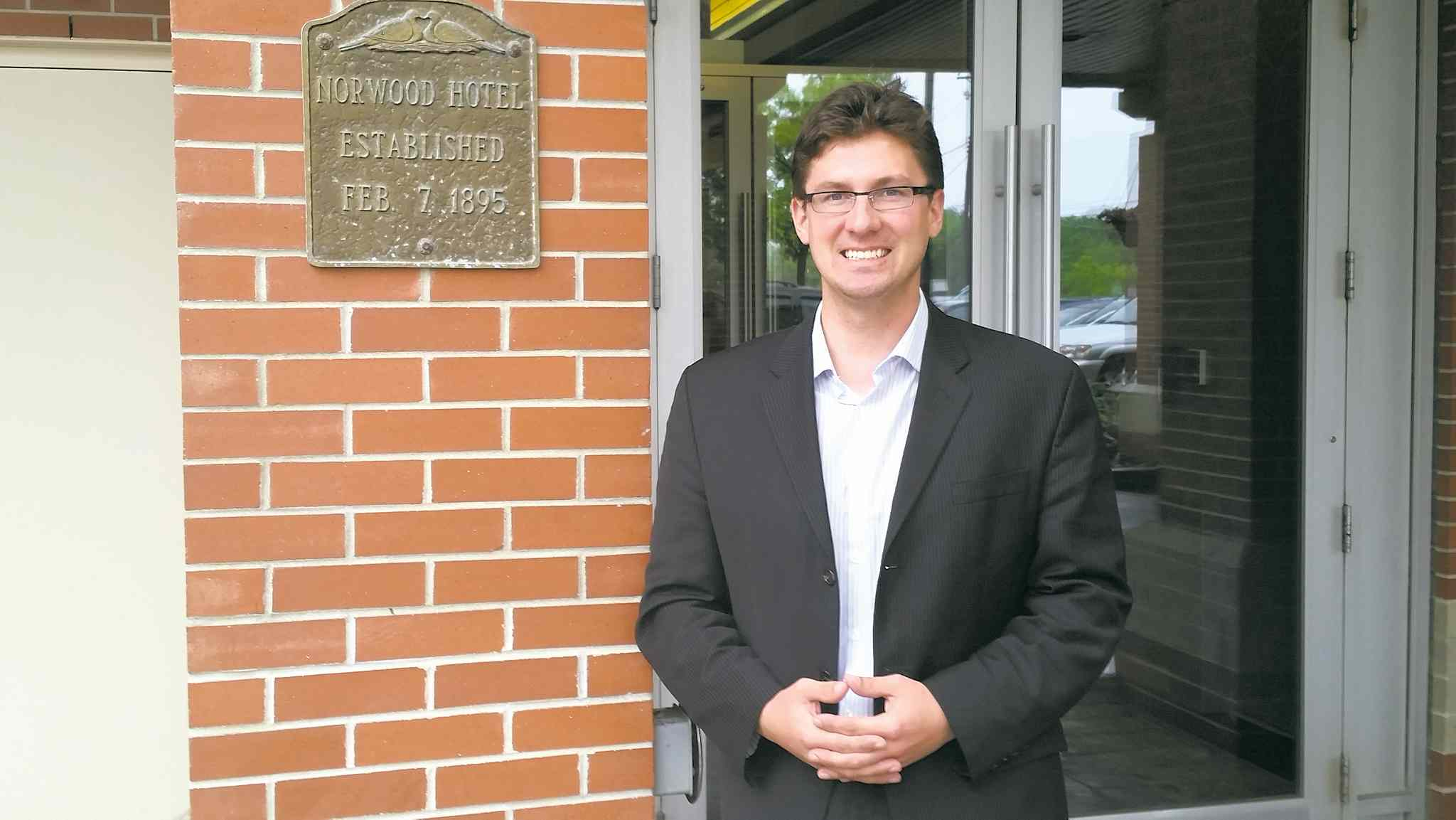 Matt Allard, Chambre de commerce francophone de Saint-Boniface's CEO, pictured outside the Marion Hotel.