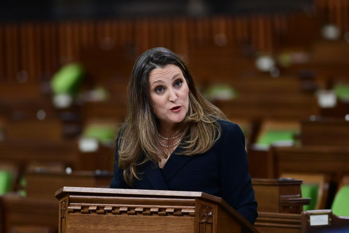 Finance Minister Chrystia Freeland delivers the federal budget in the House of Commons in Ottawa on April 19, 2021. The federal government unveiled spending plans to manage the remainder of the COVID-19 crisis and chart an economic course for a post-pandemic Canada.