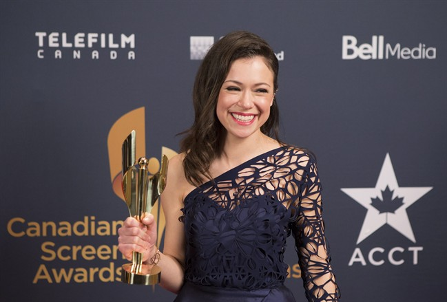Tatiana Maslany holds her award for best actress in a drama at the Canadian Screen Awards in Toronto on Sunday evening, March 1, 2015. Maslany won for her role in