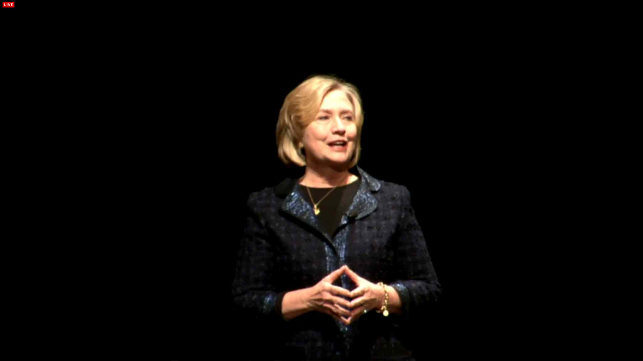 Hillary Rodham Clinton, former U. S. Secretary of State, speaks during the Global Perspectives event at the RBC Convention Centre Wednesday afternoon.