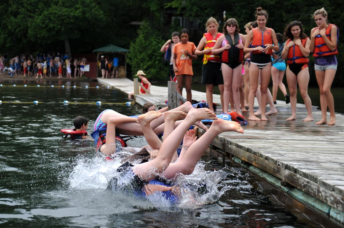 """Campers line up for their swim test at Camp Kwasind near Huntsville. Swimming is a vital """"life skill"""" that kids can learn at various day or overnight camps in Ontario."""