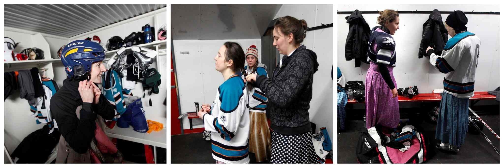 Left: Judith Maendel adjusts her helmet. Centre: Tabitha Wurtz braids her sister Doris's hair while younger sister Anya gets settled. Right: Karissa Maendel and Ashley Maendel get their game faces on. (Phil Hossack / Winnipeg Free Press)