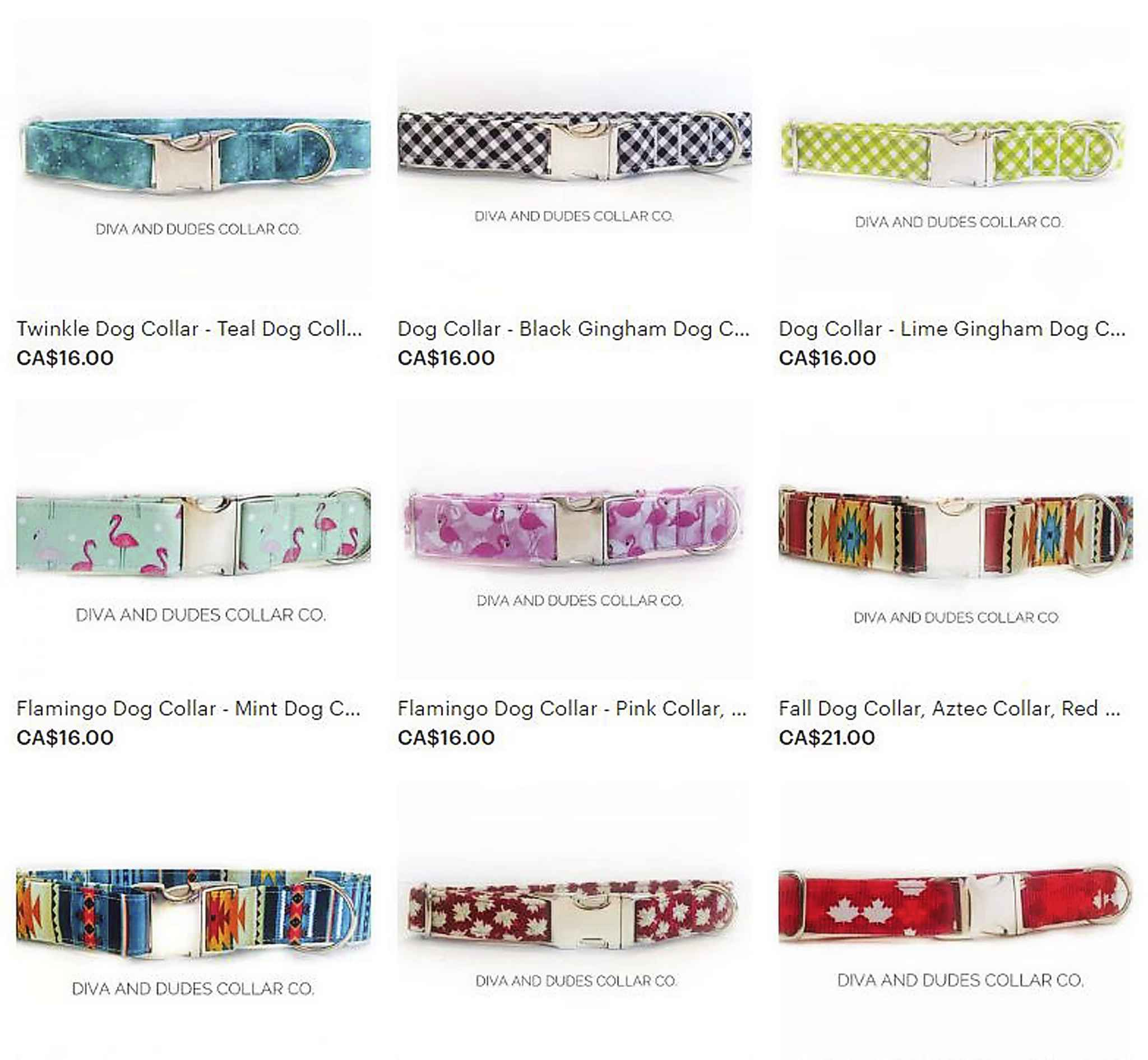 A selection of the colourful collars available online.