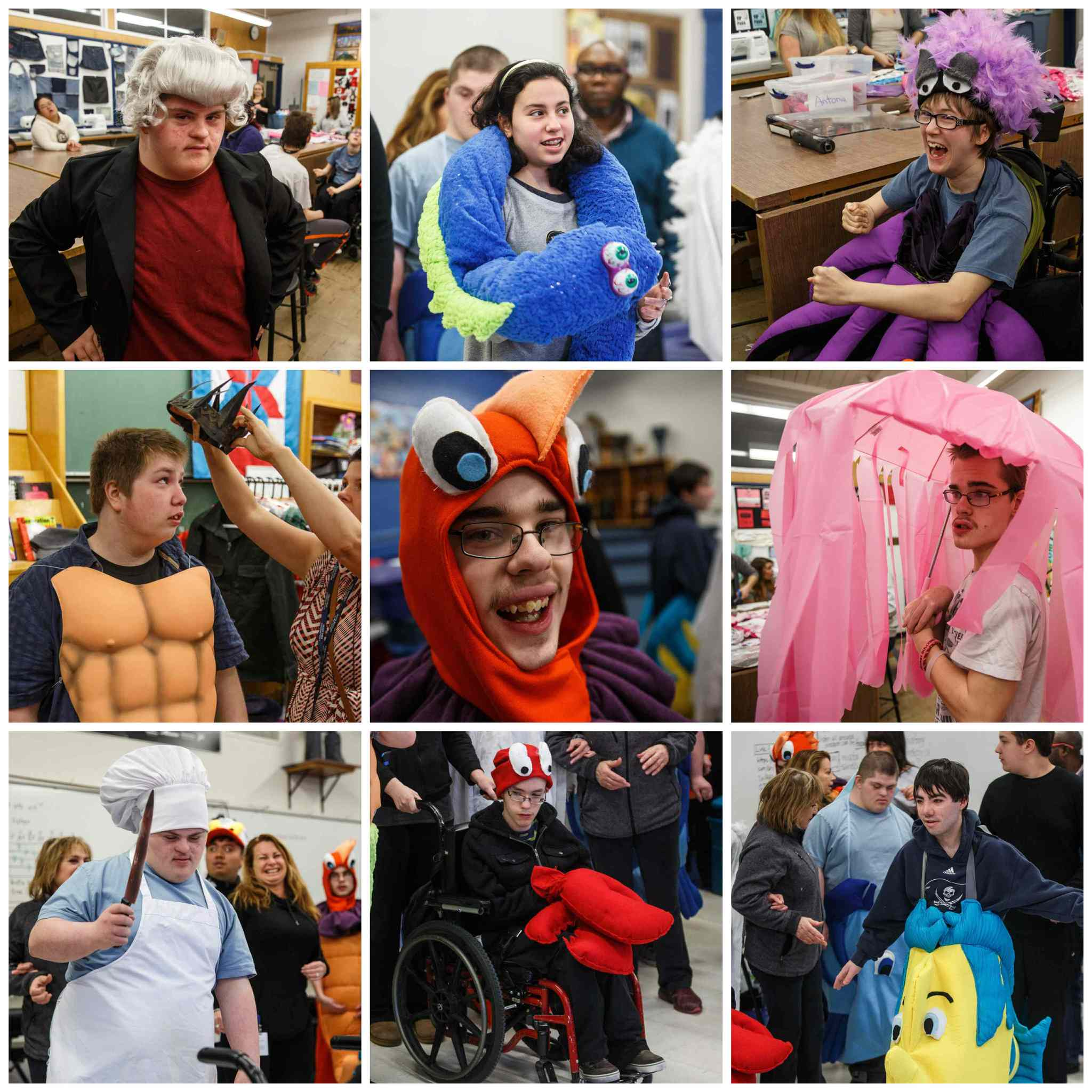 Students rehearse in their costumes.  (Mike Deal / Winnipeg Free Press)