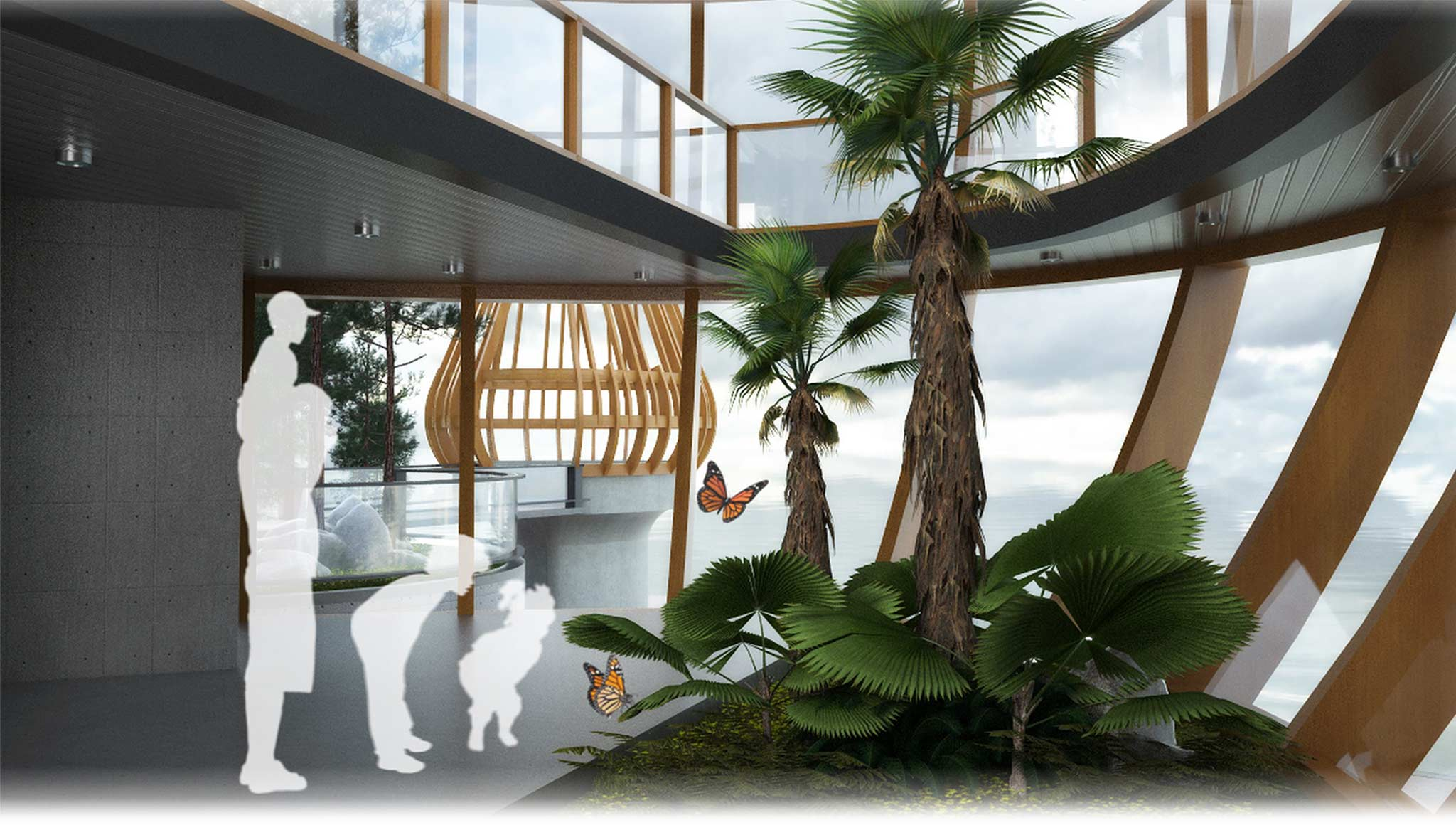 A view inside the third-place Garden Point's multistorey greenhouse.  (Supplied)