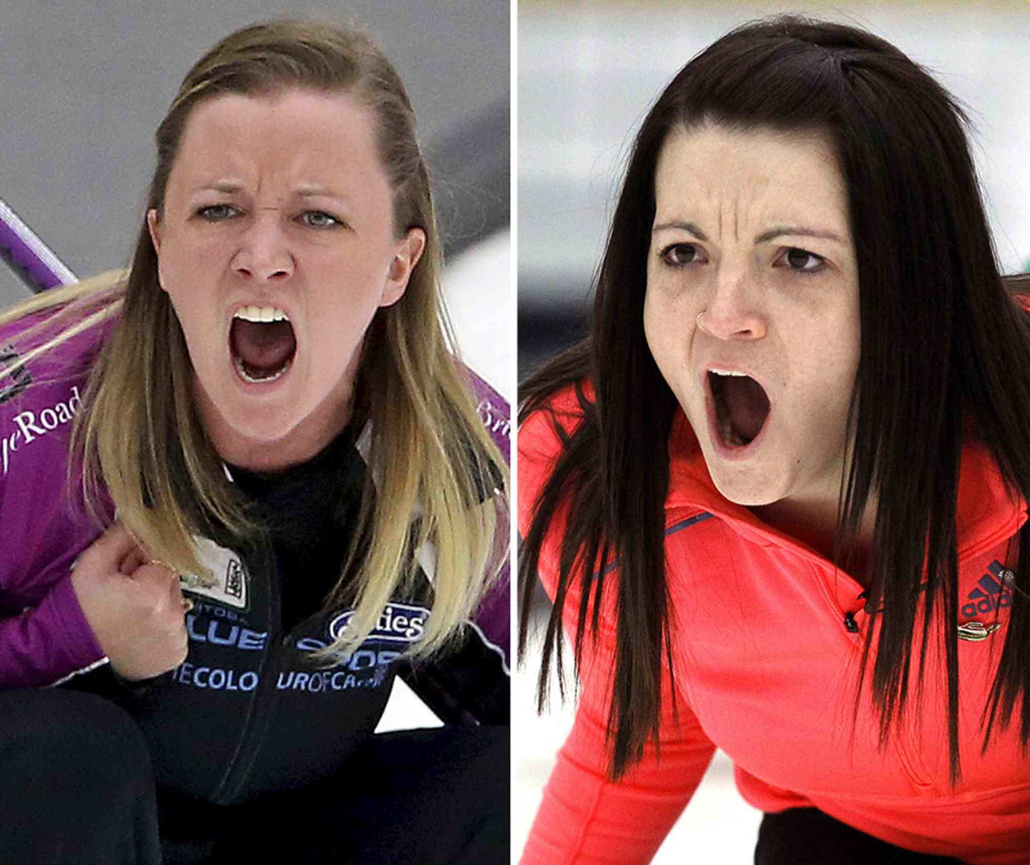 Chelsea Carey and Kerri Einarson instruct their sweepers as they compete during the final of the Scotties Provincial Curling Championship at the Tundra Oil & Gas Place in Virden, Manitoba, Sunday, January 12, 2014. (TREVOR HAGAN/WINNIPEG FREE PRESS)