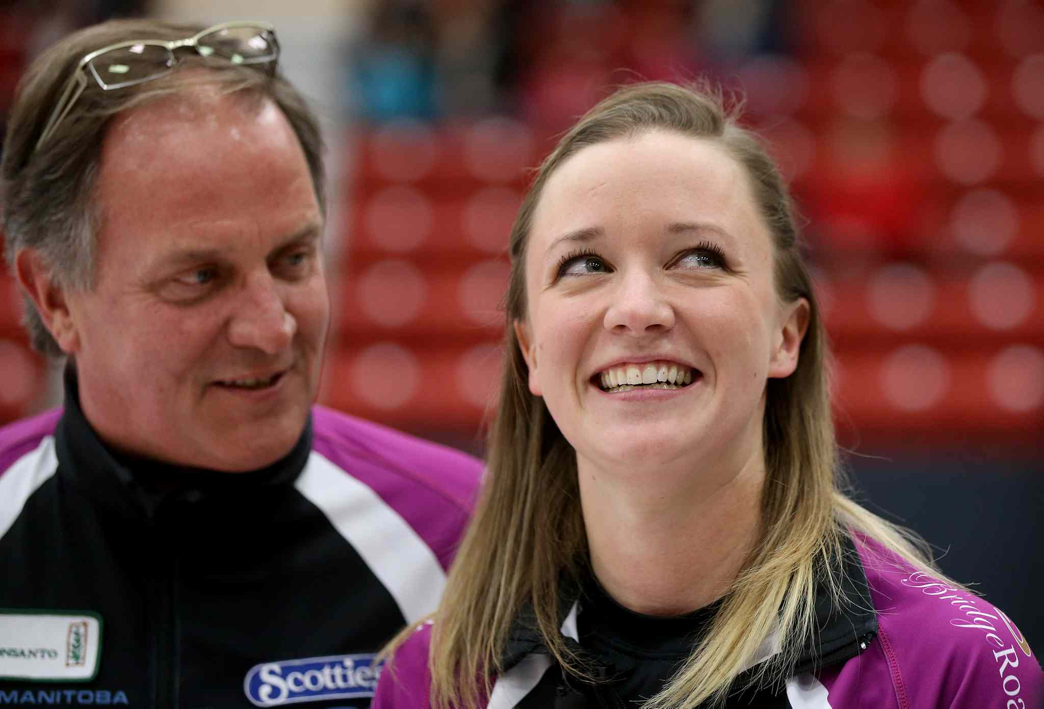 As her father and coach, Dan Carey looks on, Chelsea Carey smiles to the crowd. (TREVOR HAGAN/WINNIPEG FREE PRESS)