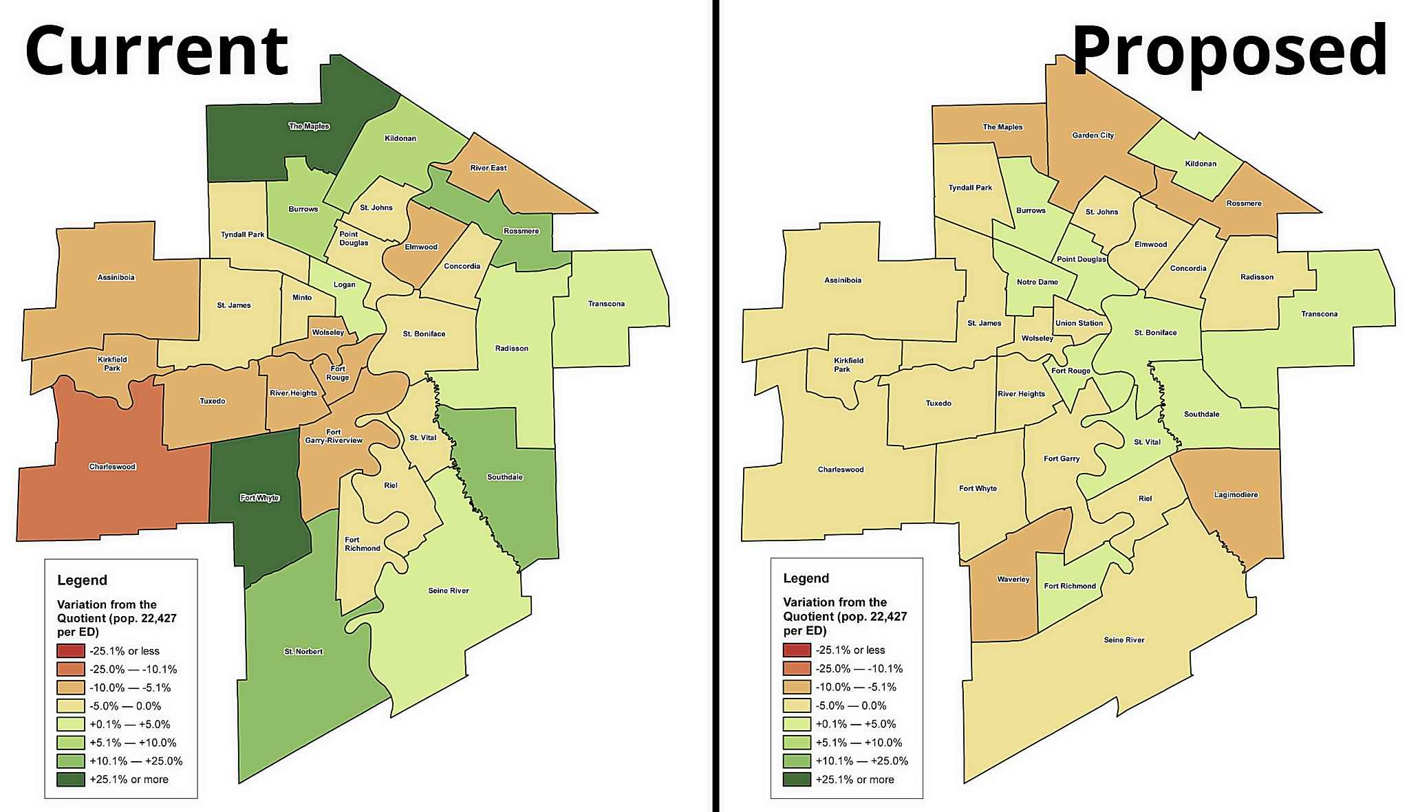 Current and proposed electoral boundaries in Winnipeg. The color gradient displays the amount by which the population of each electoral division is below (red) or above (green) the quotient of 22,427 people. (Supplied)