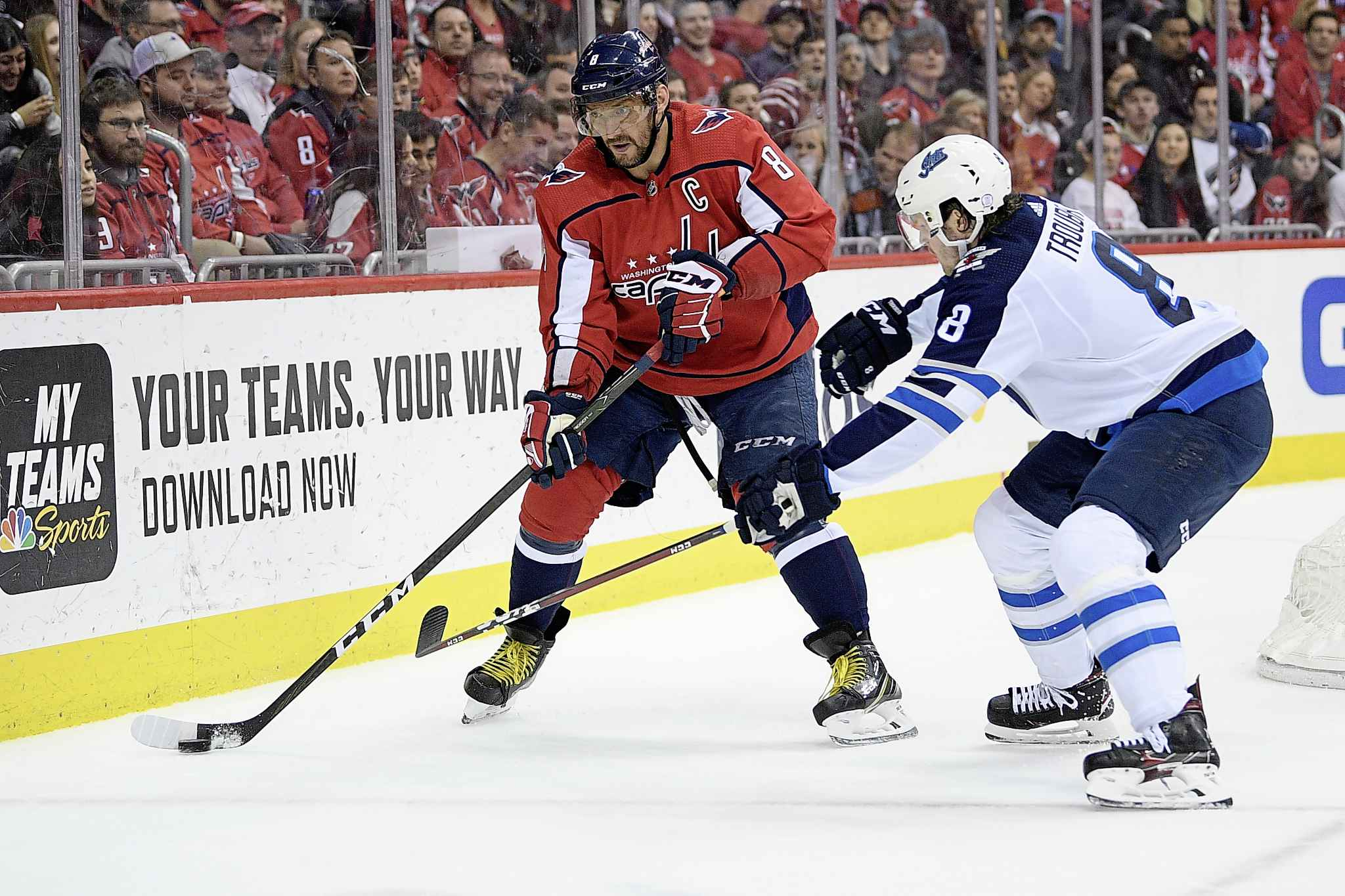 NICK WASS / THE ASSOCIATED PRESS</p><p>Washington Capitals left wing Alex Ovechkin, left, of Russia, skates with the puck against Winnipeg Jets defenseman Jacob Trouba, right, during the first period of an NHL hockey game, Sunday, March 10, 2019, in Washington.</p>