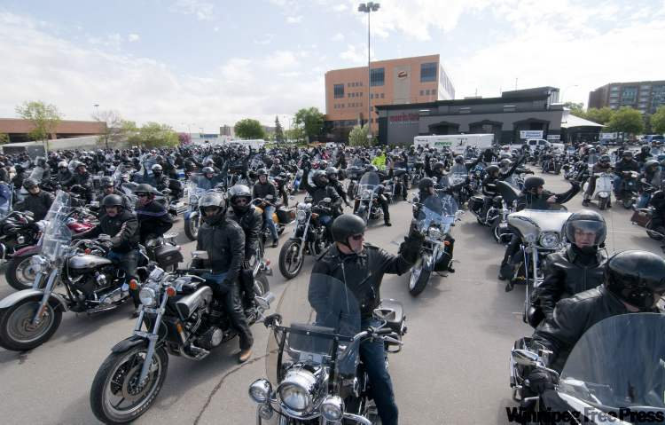 Motorcyclists take part in the annual Manitoba Motorcycle Ride for Dad, in support of prostate cancer with proceeds raised for support of prostate cancer research and education in Manitoba.