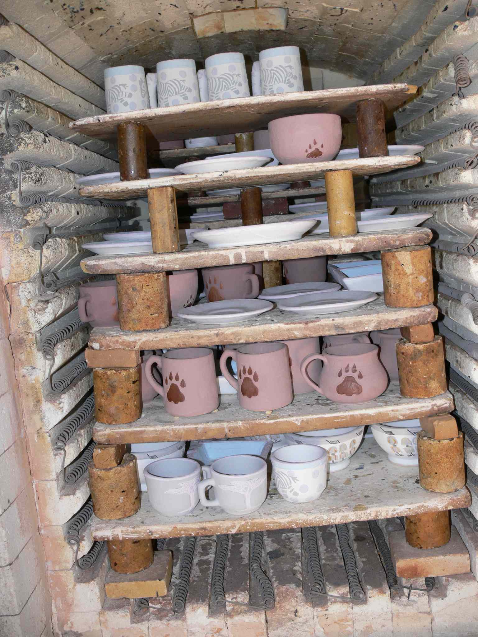 Ceramics in the kiln at Kazuri.