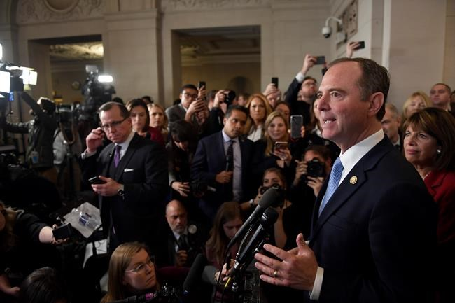 House Intelligence Committee Chairman Adam Schiff of Calif., speaks to reporters after the hearing with top U.S. diplomat in Ukraine William Taylor, and career Foreign Service officer George Kent, at the House Intelligence Committee ended on Capitol Hill in Washington, Wednesday, Nov. 13, 2019. (AP Photo/Susan Walsh)