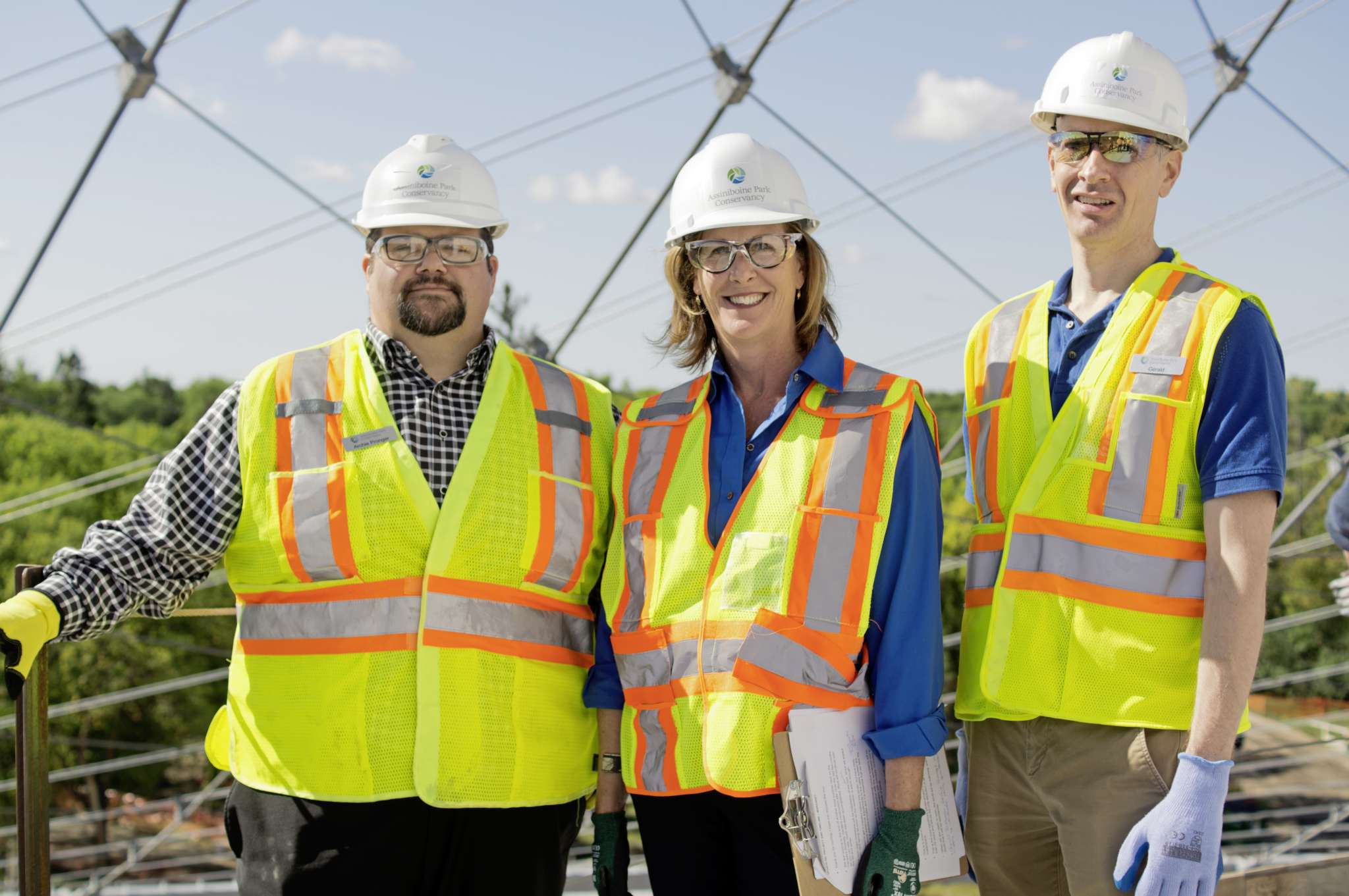 Assiniboine Park Conservancy chief executive officer Margaret Redmond (centre) is pictured with vice-president of operations Archie Pronger (left) and project manager Gerald Dieleman (right) on the canopy walkway of The Leaf biome, currently under construction at Assiniboine Park as part of Canada's Diversity Gardens. The first of its kind biome in Canada is behind schedule but will open sometime in 2021. (DANIELLE DA SILVA - SOU'WESTER)