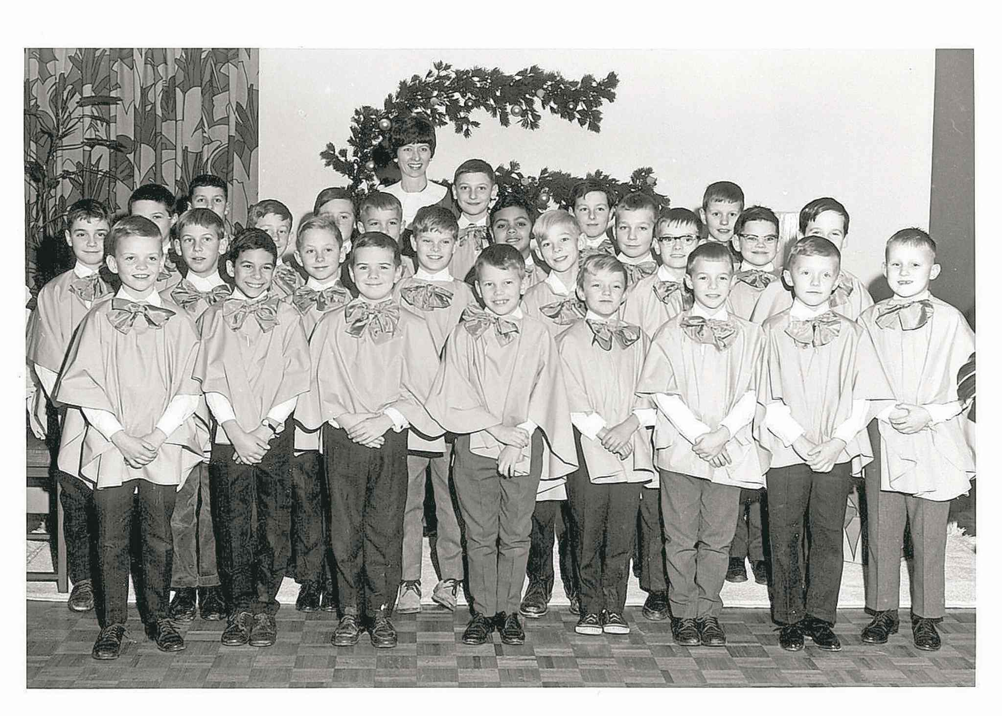 The Winnipeg Boys' Choir circa 1967 at the Grill Room in Eaton's during the Christmas season. The choir is celebrating 90 years.