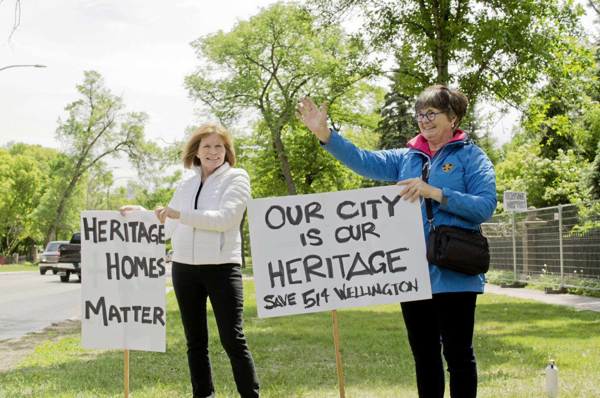 Mary Hall and Christine Skene are part of the Save 514 Wellington committee and pledged to picket the property until demolition machinery was removed from the lot. Skene (right) is a member of the neighbourhood conservation committee working with the City to get a heritage conservation district designation for Crescentwood.