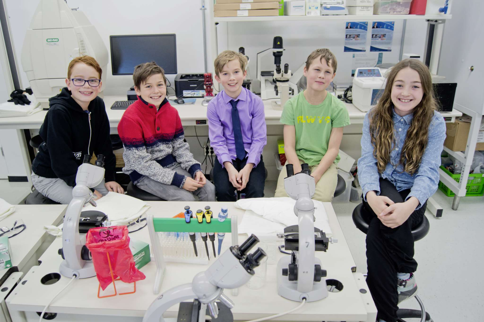 From left, Grosvenor School students Charlie Buehler, Keaton Fish, Merrik Williamson, Kale Peterson, and Quinn McMullan have designed an experiment that will be tested aboard the International Space Station.