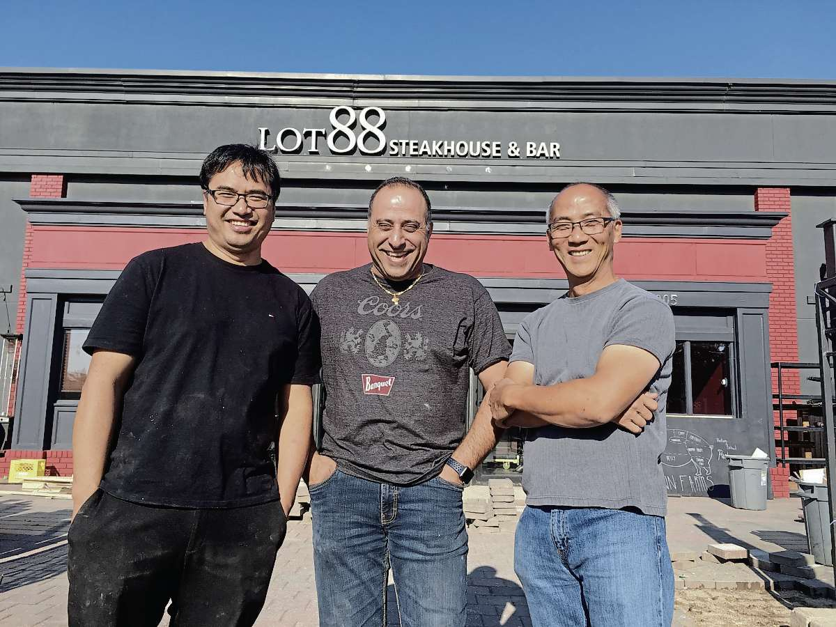 John Law (left), George Khalaf, and Wayne Dang are the owners of a new steakhouse on Pembina Highway called Lot 88.