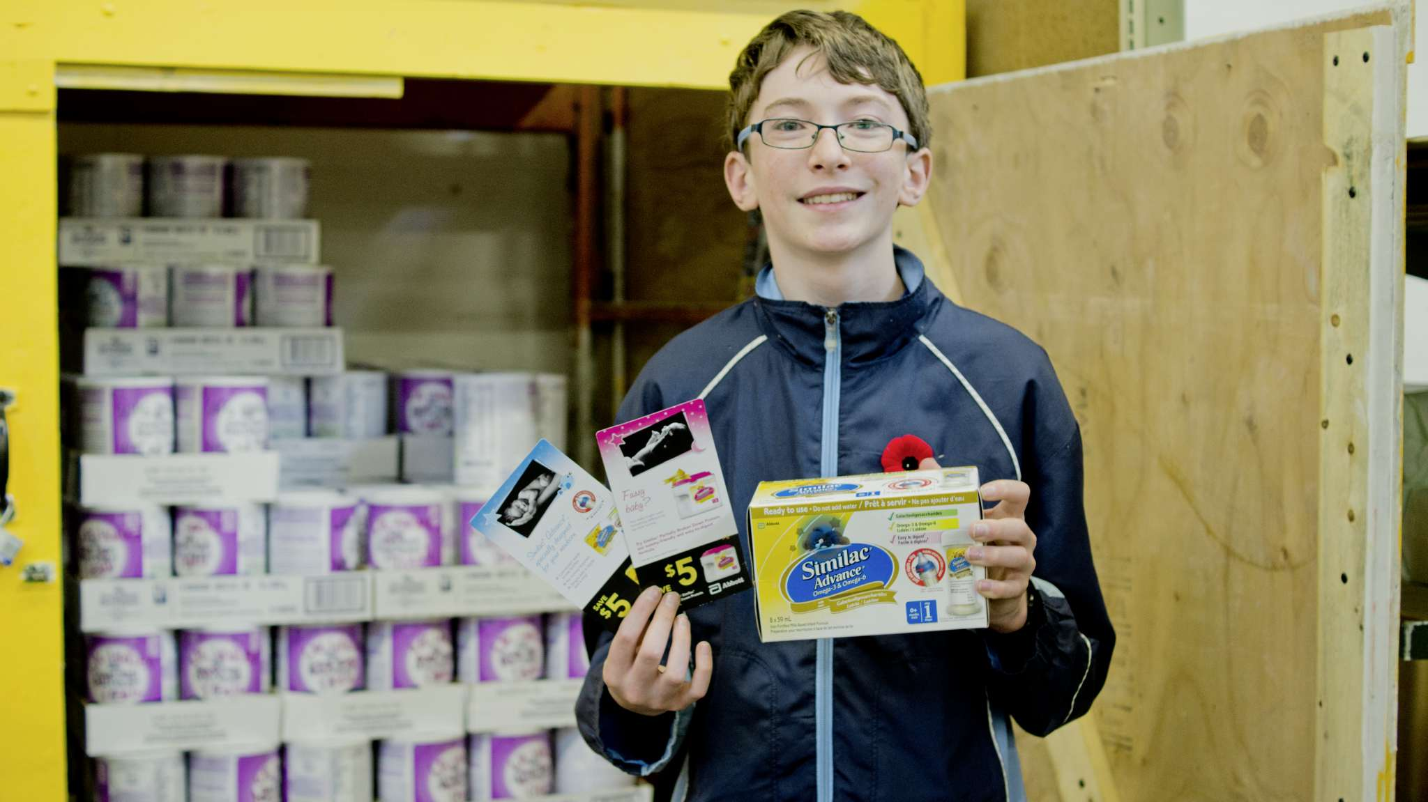 Atticus McIlraith, 13, is running his fourth annual baby formula drive for Winnipeg Harvest.