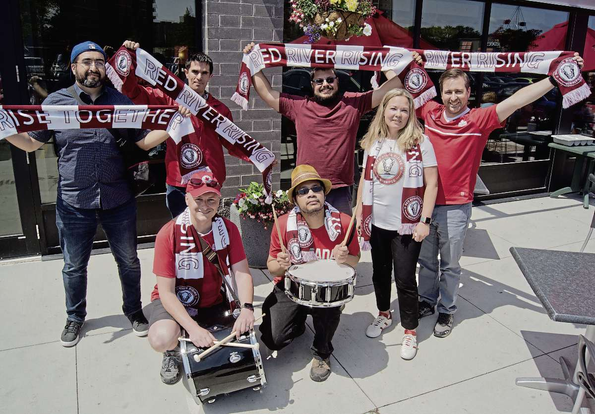 Members of the Red River Rising supporters group celebrated the announcement of Valour FC, the new professional men's soccer team in the city on June 6.  Back row from left: Victor Avalos, Adam Johnston, Kyle Gilson, and Christopher Raposo. Front row: Tim Cottee, Rigor Maglaya, and Nicky Cottee.