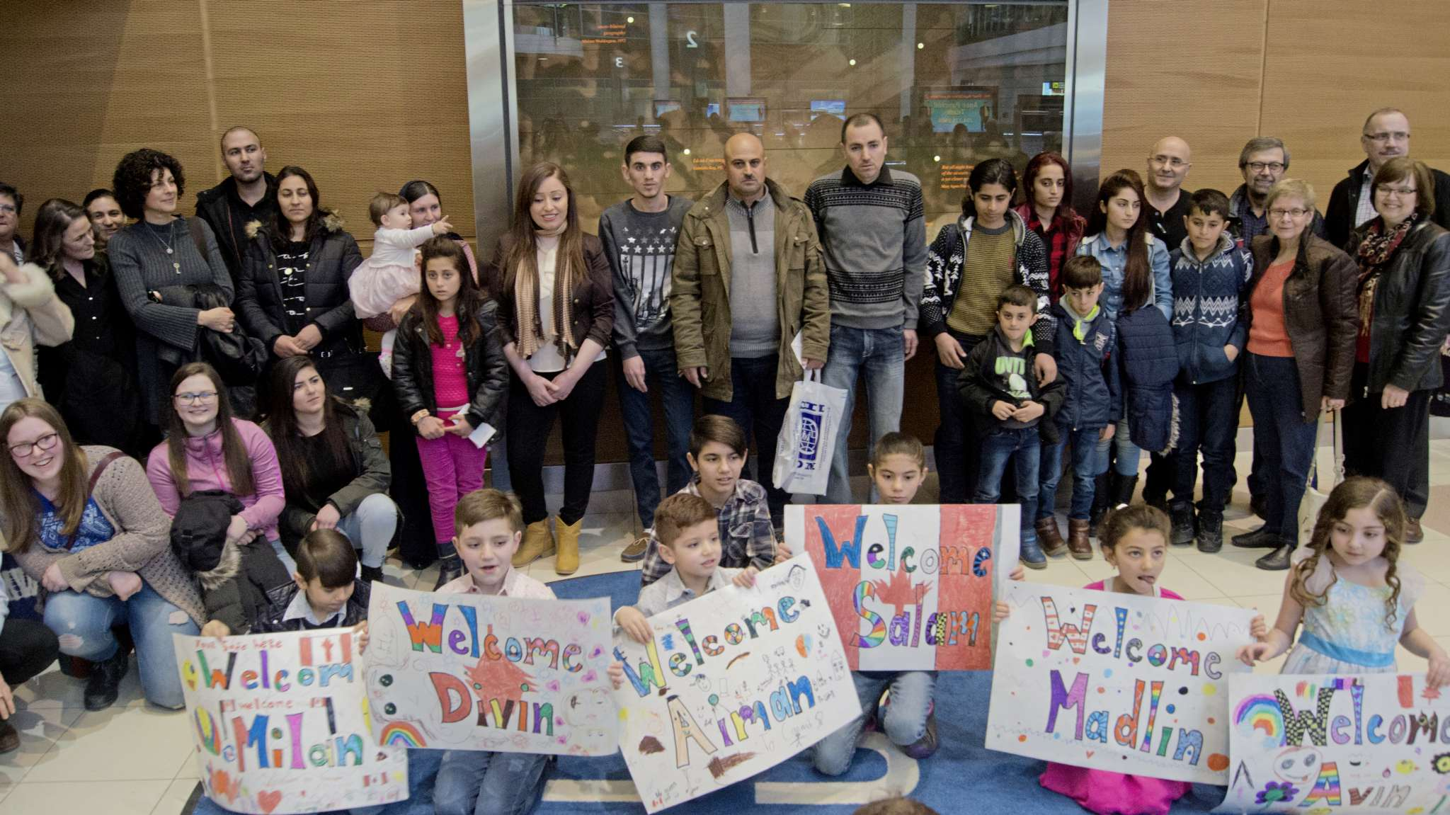 Operation Ezra welcomed Dawood Murad-Qary (centre), his wife and seven children to Winnipeg on Feb. 22. The Yazidi family was living in a refugee camp in Turkey after fleeing from ISIL and the ongoing genocide being committed against Yazidis.