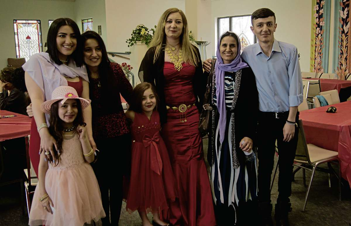 April 19, 2017 - The Yazidi community in Winnipeg celebrates the new year with a community dinner at the First Unitarian Universalist Church of Winnipeg. Traditions include dyeing hard boiled eggs, wearing red, and playing games with eggs to see who's will crack first. The community has grown significantly in the past year due to the work of Operation Ezra which is sponsoring Yazidi refugees to come to Winnipeg. (Danielle Da Silva/Sou'wester/Canstar)