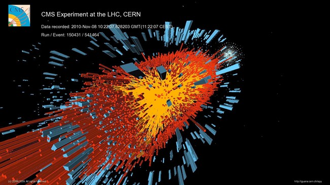 A digital reconstructed event from the one of the first lead-ion collisions seen by the Compact Muon Solenoid (CMS) experiment at the CERN is pictured in Geneva, Switzerland, Nov. 8, 2010. THE CANADIAN PRESS/AP, CERN/CMS