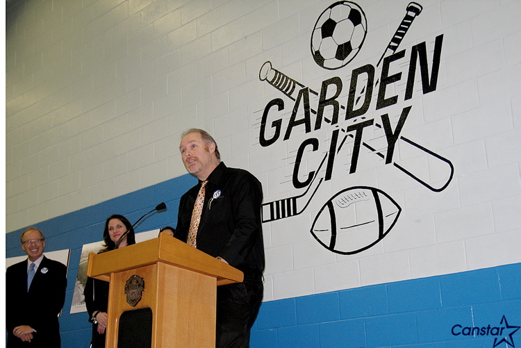 Garden City Community Centre president Andy Haworth speaks during the announcement for the arena's twin-arena project, made on Feb. 21.