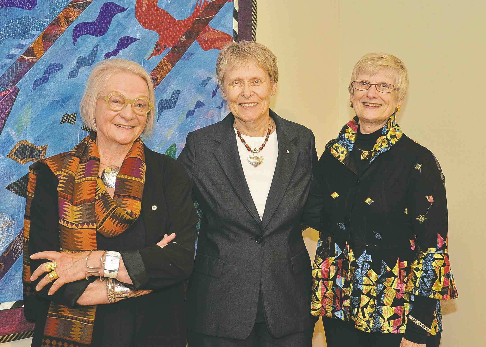 From left to right: Carole Sabiston, Roberta Bondar and Pat Bovey pictured at the Buhler Gallery recently. Sabiston and Bondar are the artists behind the gallery's latest exhibit titled Dreams & Realities — Human Sensitivity of Place.