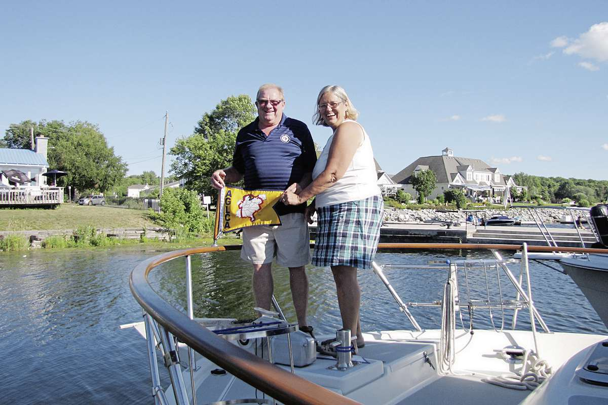 Andy and Twylla McKendry are pictured while on their year-long trip around America's Great Loop, a 11,056-kilometre nautical adventure they recently completed.