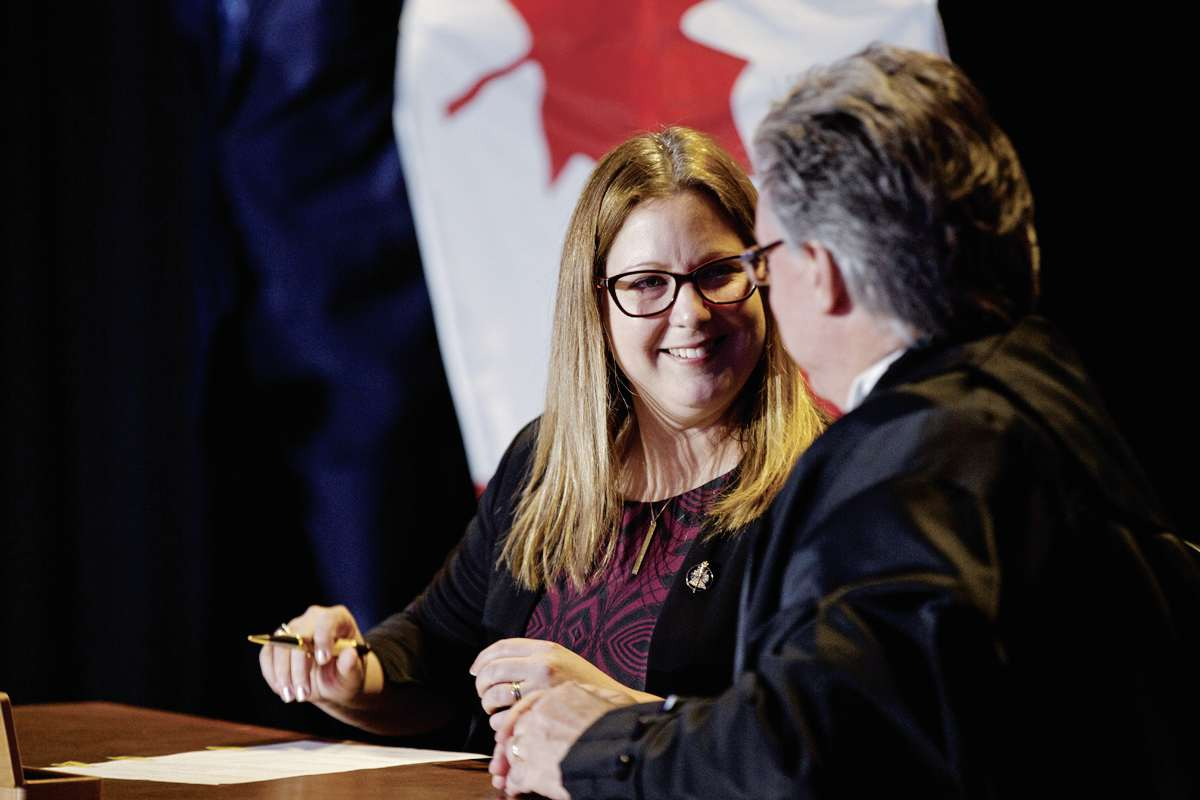 Sarah Guillemard, MLA for Fort Richmond, was sworn in as minister for the new Department of Conservation and Climate, a single department charged with environmental and climate stewardship.