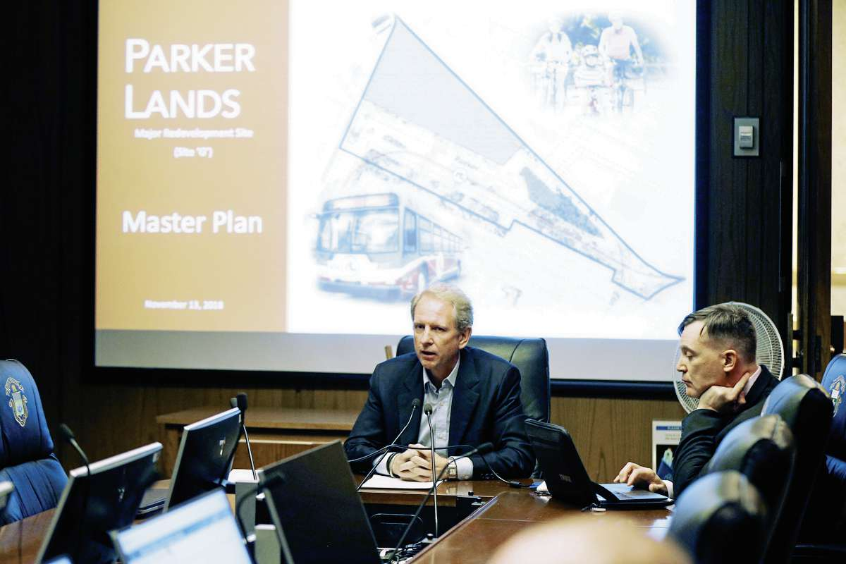 Parker Lands developer Andrew Marquess of Gem Equities speaks at a City Centre community committee meeting at city hall on Nov. 13.