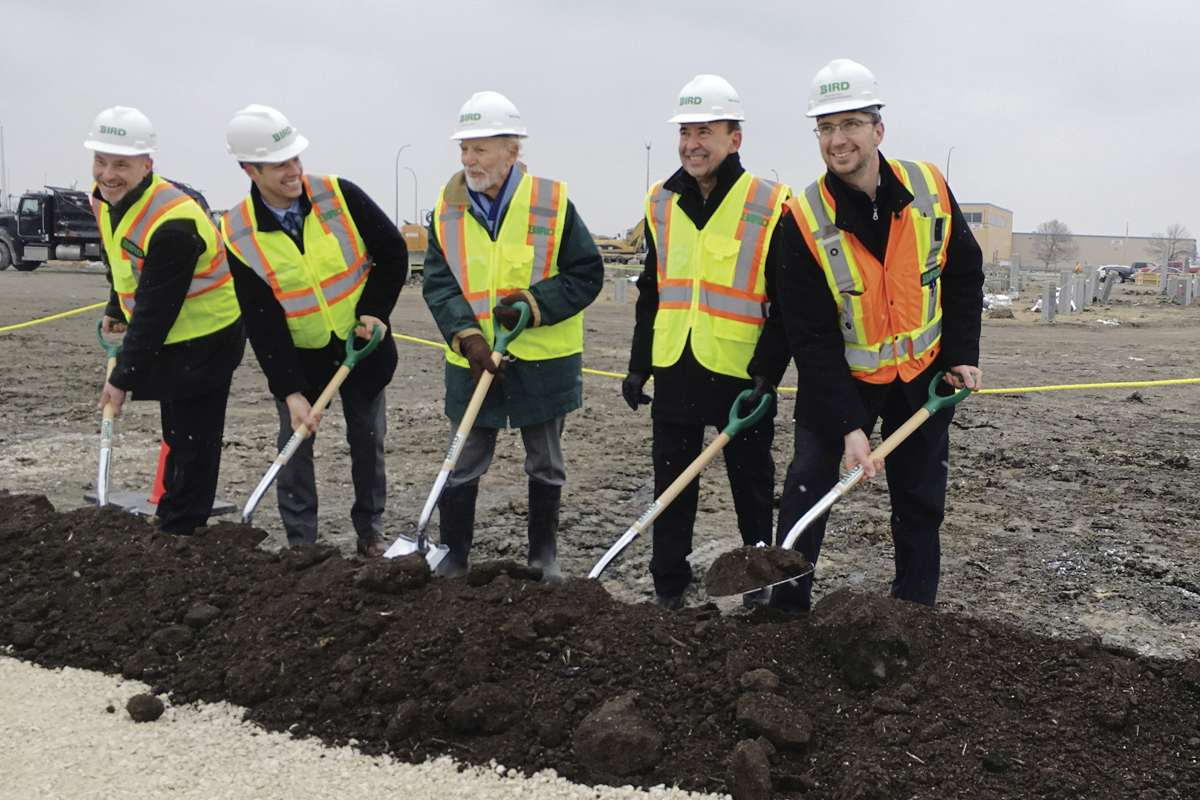 A sod-turning event for a new Best Western Premier hotel in Transcona was held April 10. From left to right are: Kevin Dandewich, Bird Construction business development manager; Mayor Brian Bowman; owner Sherwood Sharfe; Ed Calnitsky of Calnitsky Associates Architects Inc.; and Travis Paul, Bird operations manager.    Sodturning for new Best Western Premier Hotel in Transcona on Tuesday. From left to right are:  Kevin Dandewich, Bird Construction business development manager; Mayor Brian Bowman; owner Sherwood Sharfe; Ed Calnitsky of Calnitsky Associates Architects Inc.; and Travis Paul, Bird operations manager.     April 10, 2018