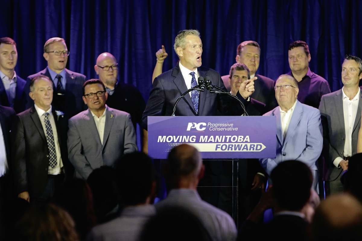 Progressive Conservative leader and Fort Whyte MLA-elect Brian Pallister delivers a speech to supporters at the party's campaign wrap-up on Sept. 10.