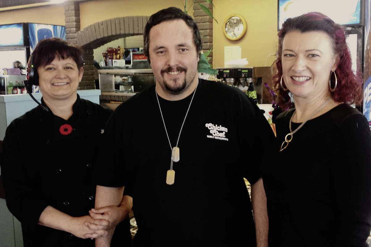 From left to right: Chicken Chef owner Lori Lucas, employee Joey Oliver and Kirkfield Park MLA Sharon Blady are pictured at the restaurant. Oliver invited Blady to his workplace as part of Take Your MLA to Work Day.