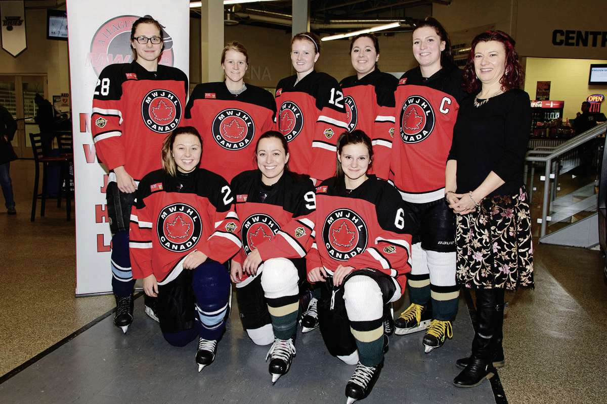 Kirkfield Park MLA Sharon Blady is pictured with some MWJHL athletes who recently joined teams for a special trip to Helsinki. Back row, from left: Tierney Maytchak, Jacey Schettler, Breanna Murner, Kennedy Hutcheson, Katharyn Houston and Blady. Front row, from left: Madison Dreger, Maggie Gerard, and Josee Desrosiers.